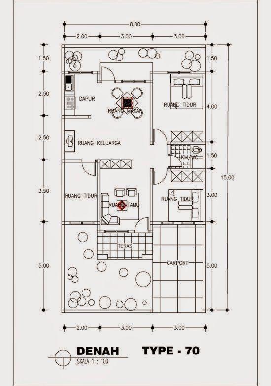 Denah Rumah Minimalis Type 70 1 Lantai 6 Jpg 550 784 Rumah Rumah Minimalis Desain Rumah