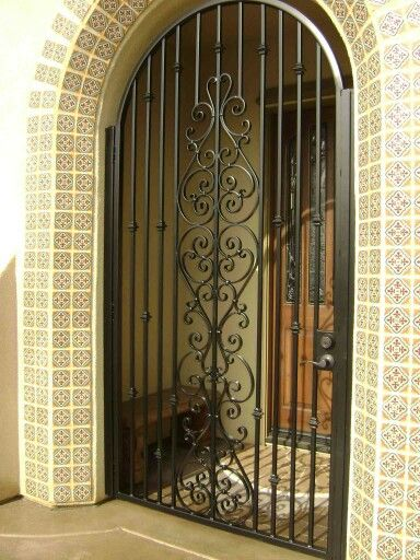 Wrought iron grill door | Front doors with windows, Iron ...