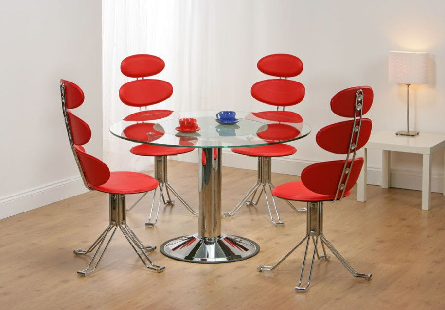 Dining Room, Adorable Unusual Dining Chairs With Red Color Contemporary  Stylish And Round Table Glass Top Metal Base Also Table Lamp With Laminated  Flooring ...