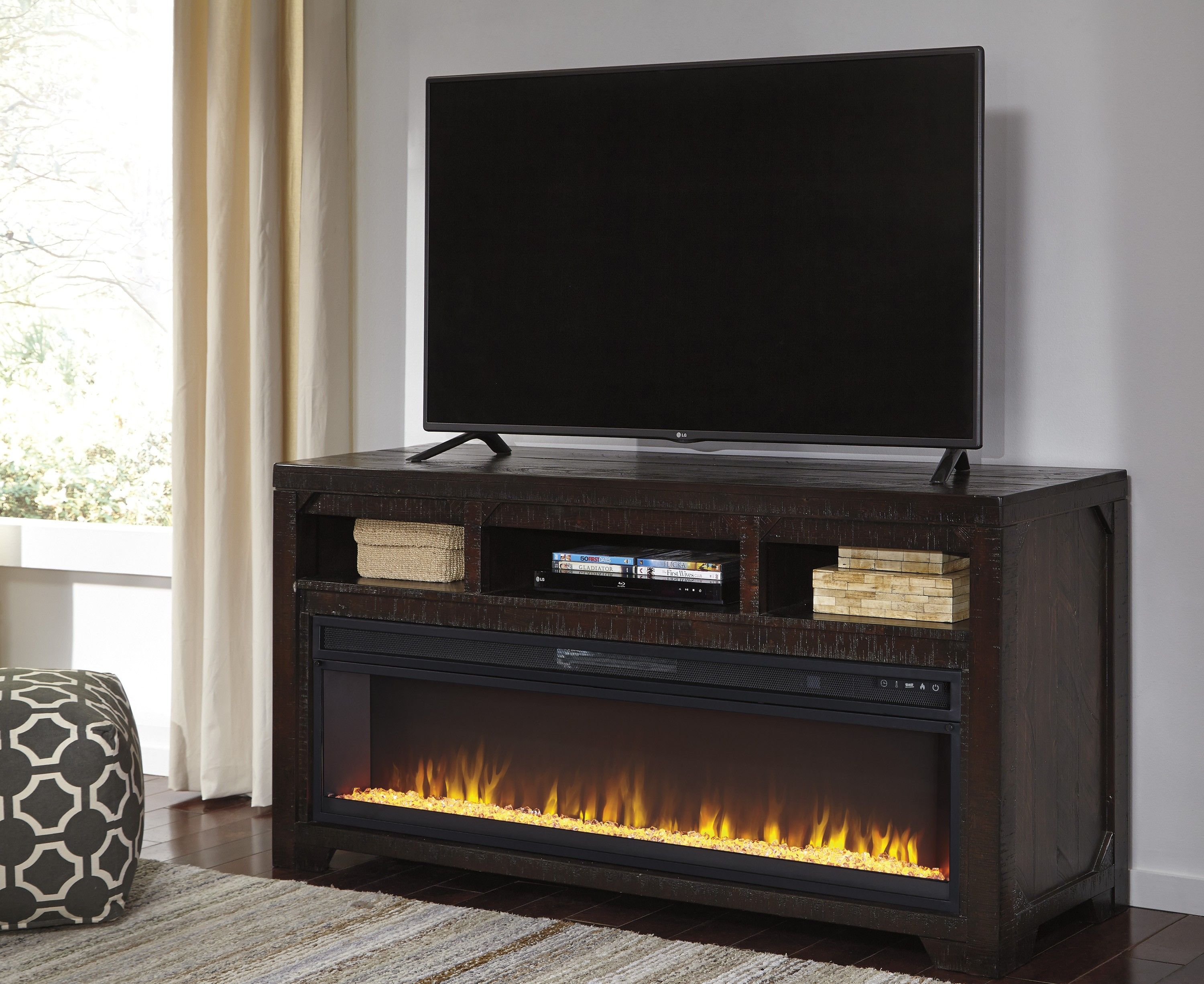 Rogness Dark Brown Large Tv Stand With Fireplace Fireplace Tv