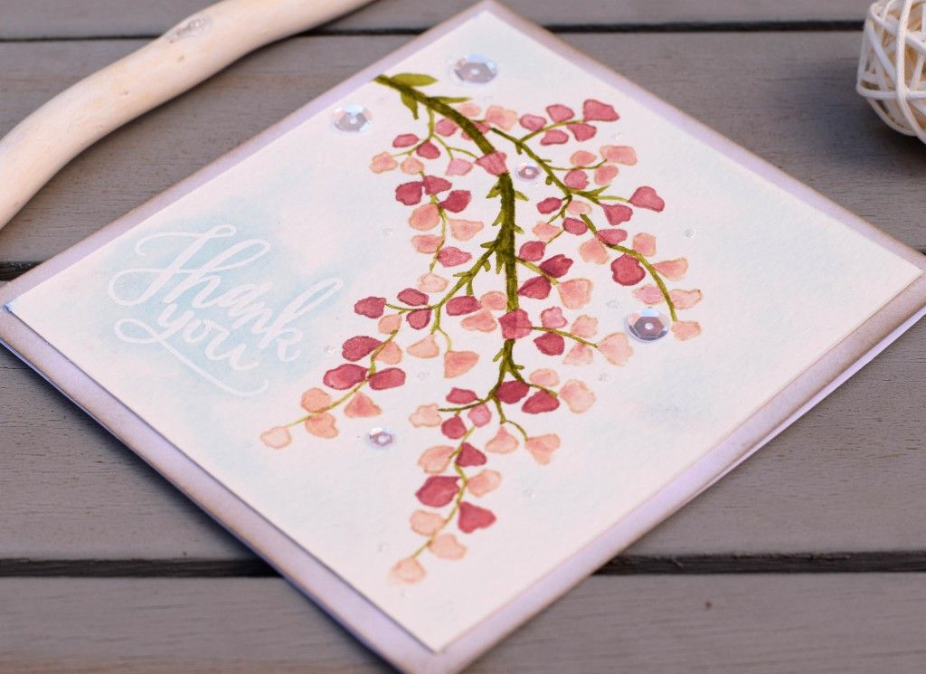 Thank you watercolor card. #cardmaking #handmadecards #watercolor