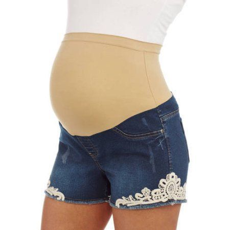 f5aecdef5bd9a Planet Motherhood Maternity Over Belly Seamless banded Distressed Denim  Short with Crochet Lace Medallion Appliqu --Available In Plus Size, Gray