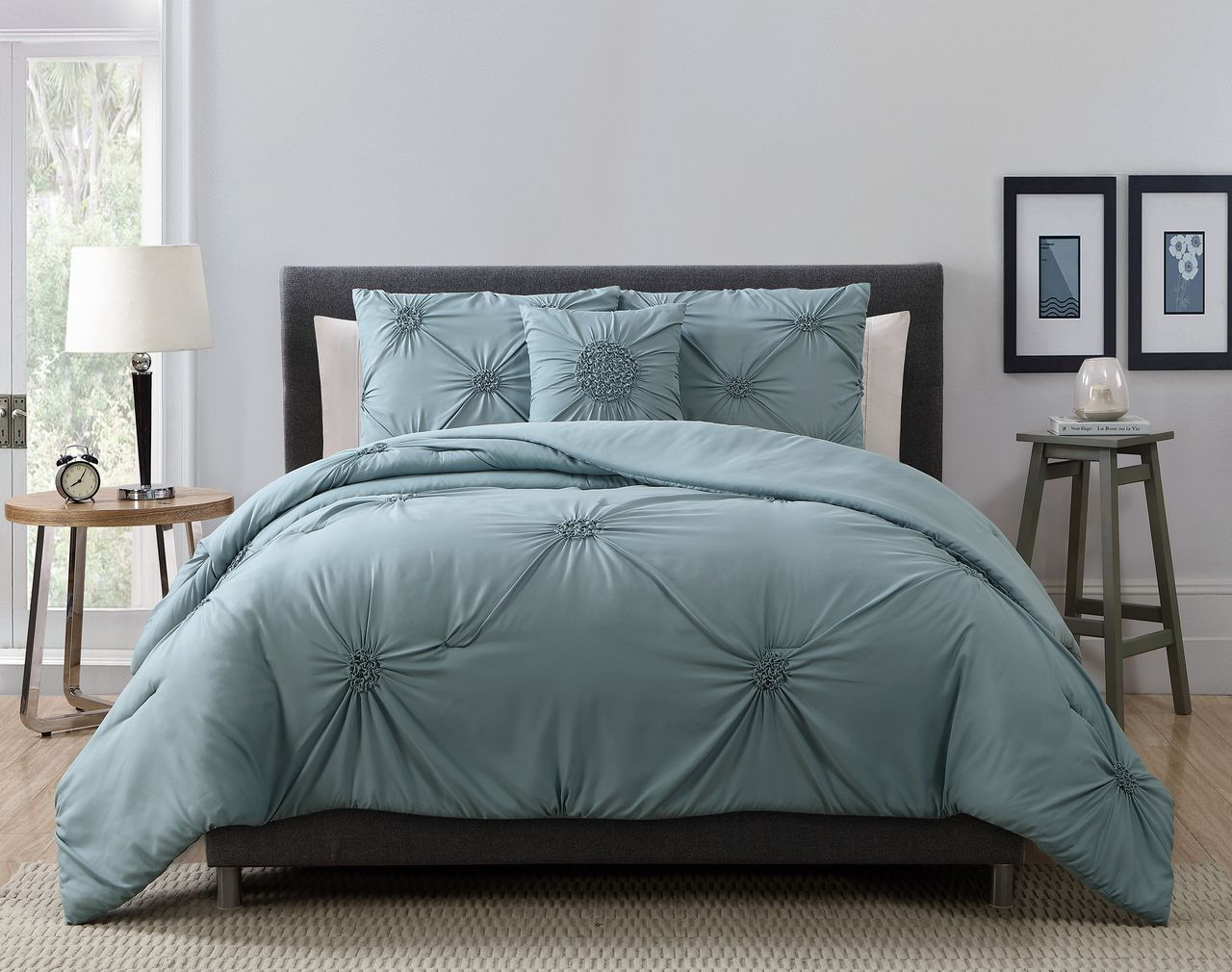 4 Piece Paige Mineral Blue Comforter Set Grey Comforter Sets Blue Comforter Sets Bed Linens Luxury