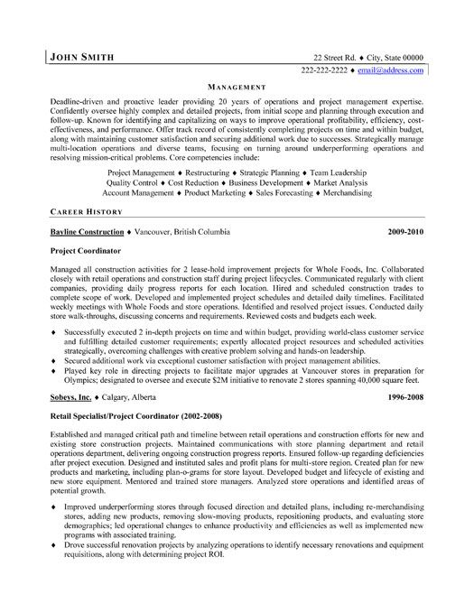 Sample Resume For Construction Project Manager Position Sample