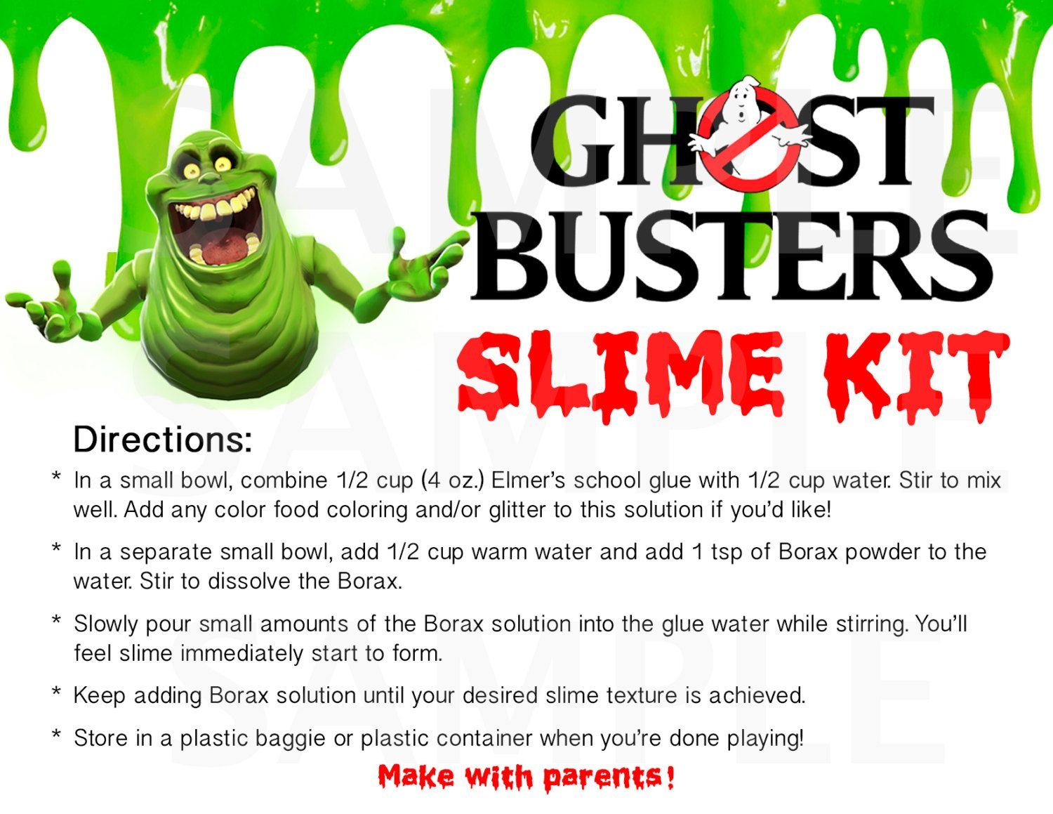 Ghostbusters Inspired Boys Birthday Party Slime Kit LABELS ...