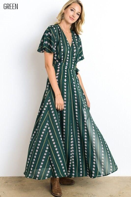 80d47db4b2da Feeling Japanese? Then wear this Kimono inspired Wrap Style Long Dress in  Green. It features loose short sleeves and skirt with self-tie in waist  line.