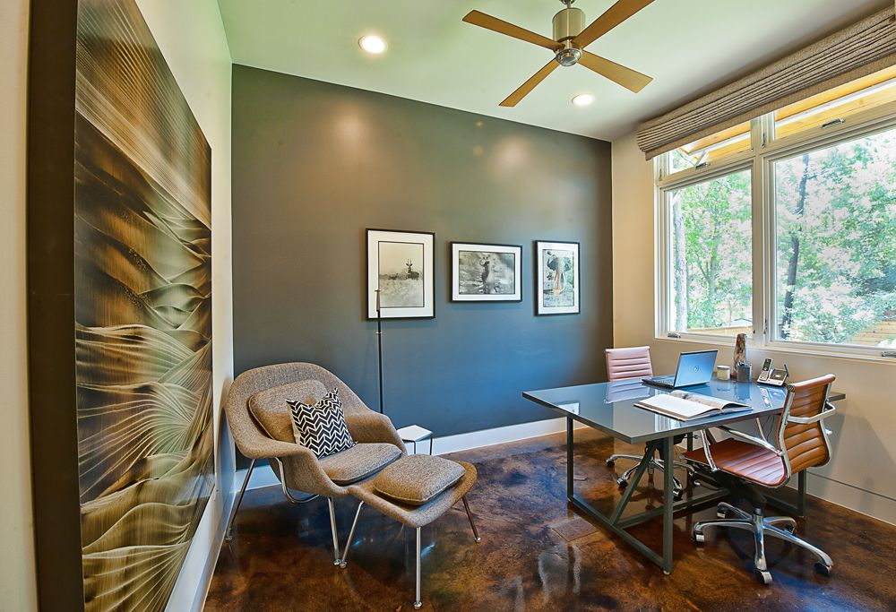 Stained Concrete Floors Mid Century Modern Chair Offices