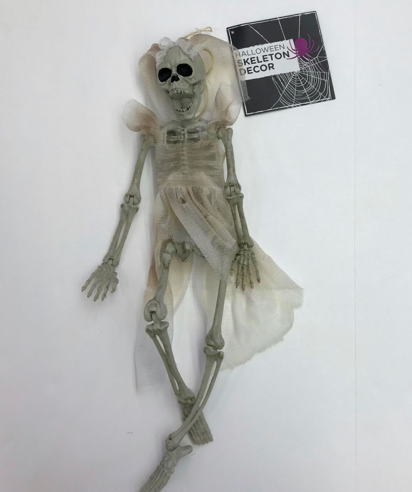 Hanging Skeleton Decoration Bride16in Jointed Spooky
