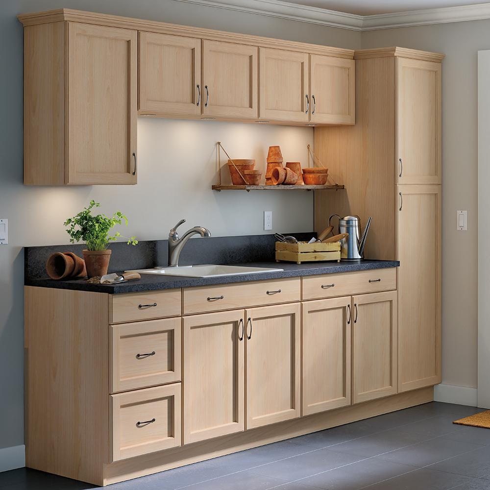 Easthaven Shaker Assembled 24x34 5x24 In Frameless Base Cabinet With 3 Drawers In Unfinished Beech Eh2435d Gb The Home Depot In 2020 Unfinished Kitchen Cabinets Kitchen Cabinets Unfinished Cabinets