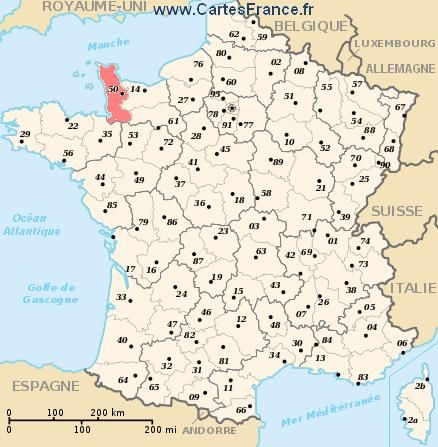 Map Department Manche Manche Normandie France