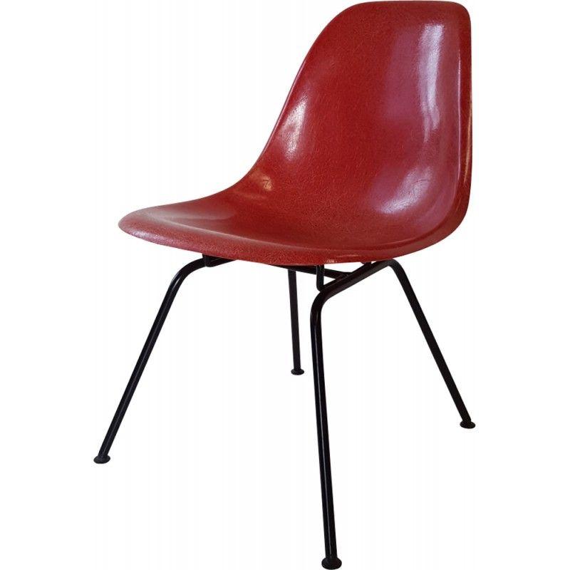 Chaise Rouge Vintage Par Charles Et Ray Eames 1960 Design Market Eames Fibre De Verre Chaise