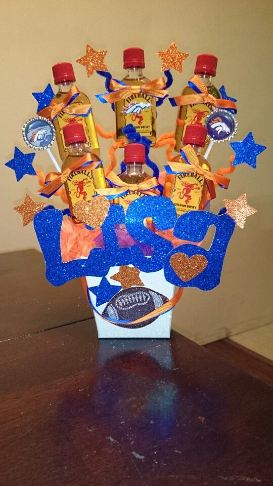 Denver Broncos Orange Blue Fireball Stars Alcohol Bouquet Shots Birthday Hearts Lisa
