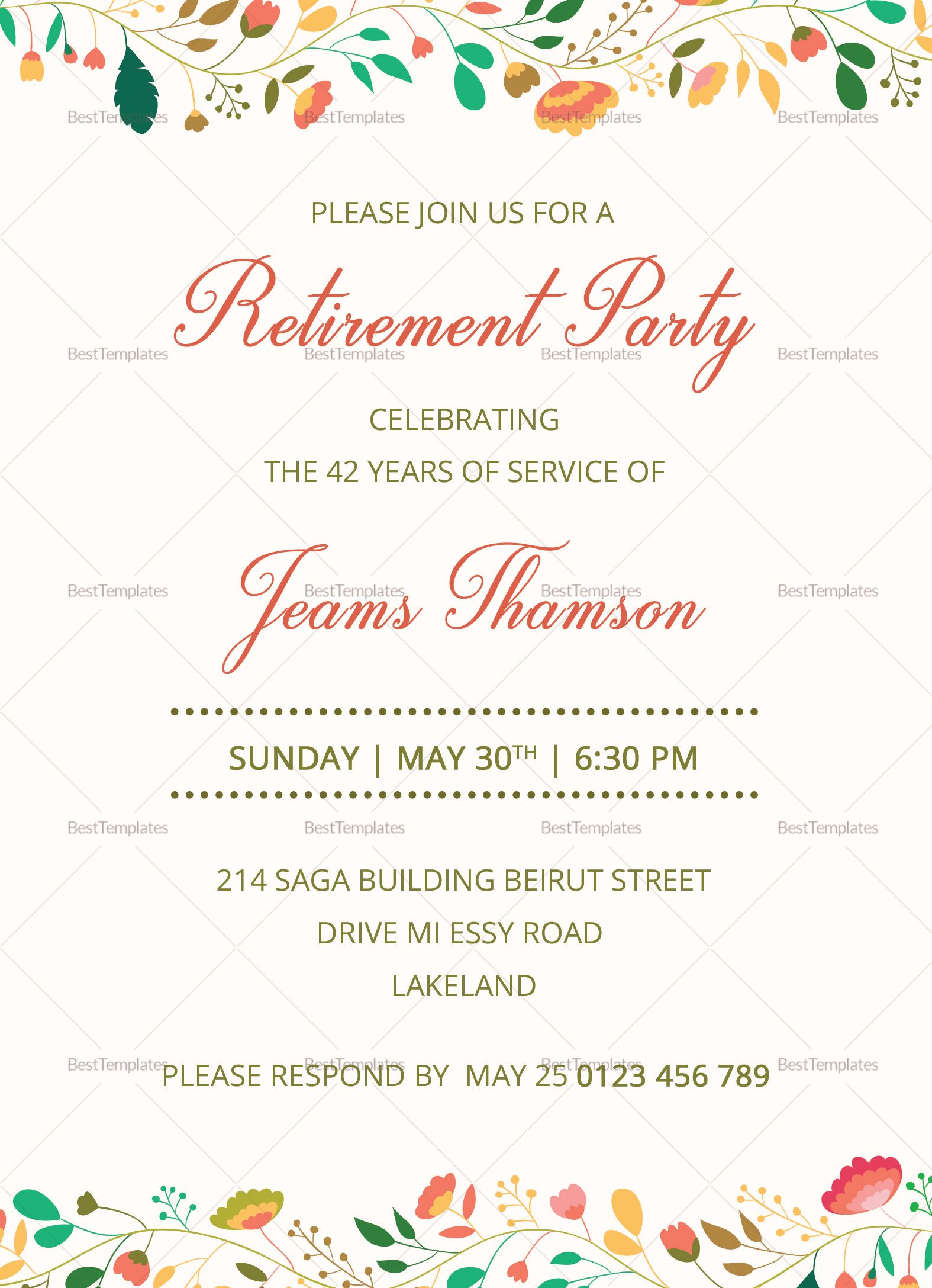 Pin by Morvine Juma on Download  Retirement invitation card