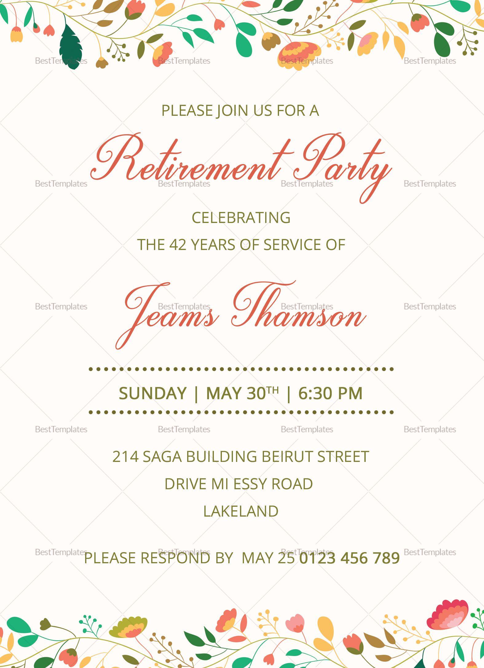Corporate Retirement Party Invitation Template Retirement Invitation Card Retirement Invitation Template Party Invite Template