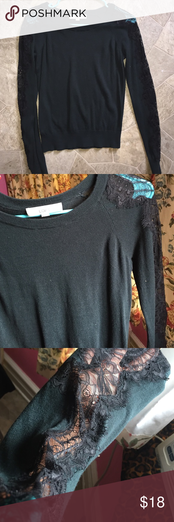 Green sweater Worn twice a washed size small. Shoulder to wrist has really pretty design. No rips or stains. LOFT Sweaters Crew & Scoop Necks