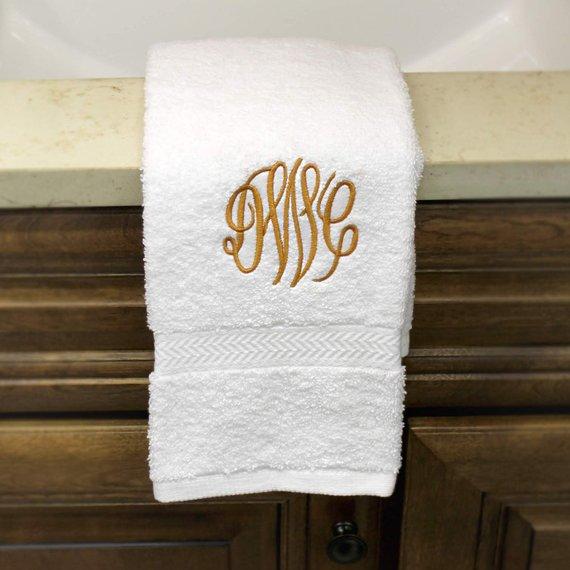 Monogram Towel Set Personalized Bath Towel Spa Bathroom Decor