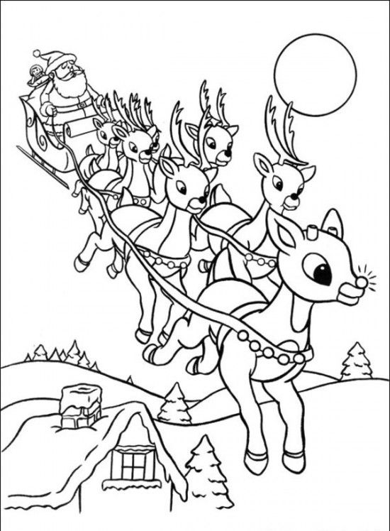 christmas reindeer coloring pages Rudolph the Red Nosed Christmas Reindeer Coloring Pages | Twas  christmas reindeer coloring pages