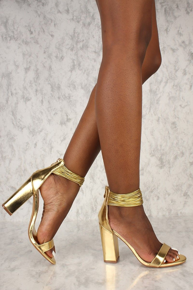 b9e3f20b91 Sexy Gold Strappy Open Toe Chunky High Heels Metallic Faux Leather ...