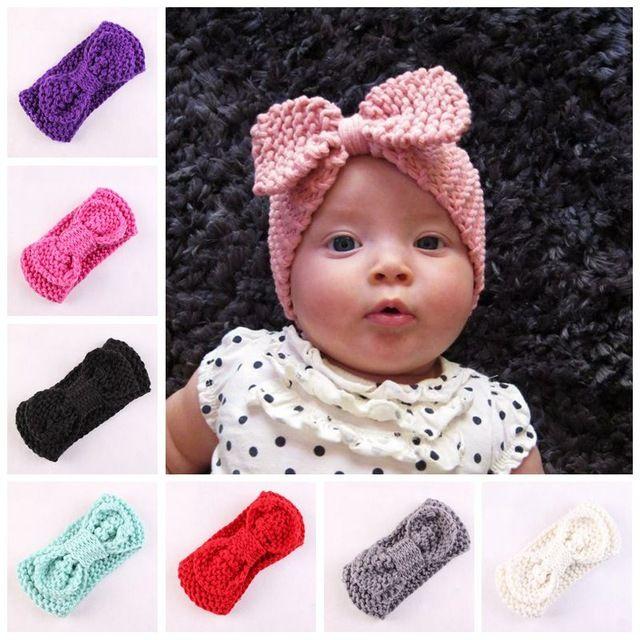 8 UNID Crochet arco niñas ropa de invierno arco de punto diadema ...