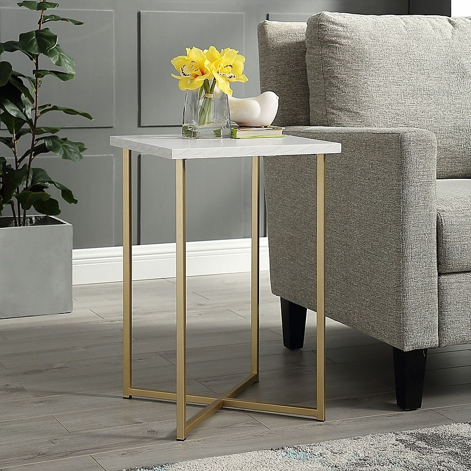 Forest Gate 16 Joan Modern Faux Marble Square Side Table Bed Bath Beyond Living Room Side Table Gold Living Room Side Table Decor