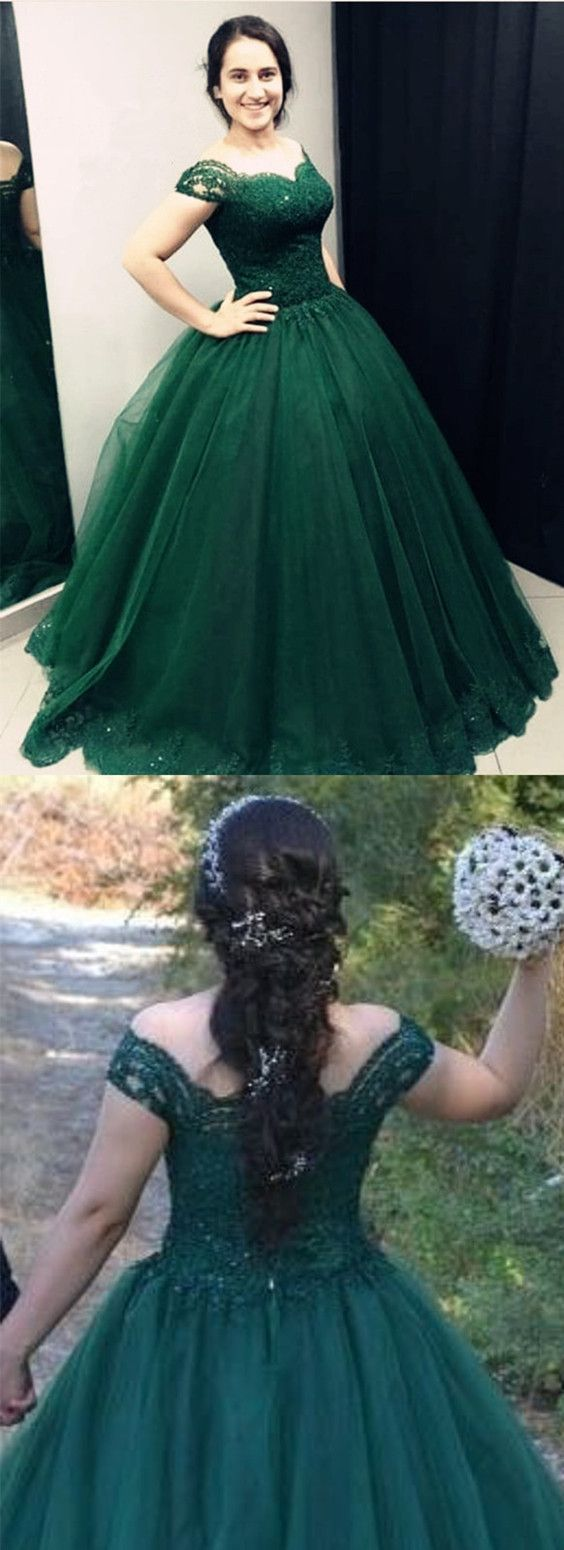 Dark green lace sweetheart off shoulder tulle quinceanera dresses