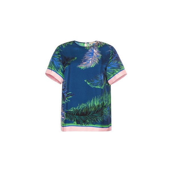 Emilio Pucci Silk T-Shirt ($680) ❤ liked on Polyvore featuring tops, blue top, emilio pucci tops, short sleeve silk top, relaxed fit tops and blue short sleeve top