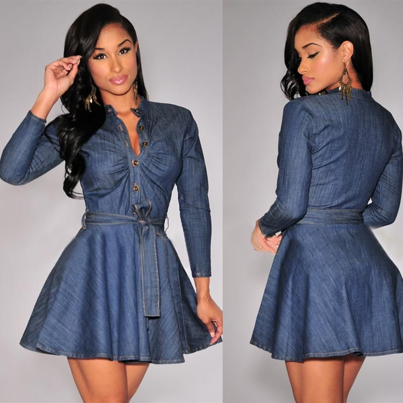 4a9f5982512 2016 Lady Slim Vestidos Length Spring And Autumn Women Slim Fit Denim Jean  Dress Plus Size Bowknot Belt Long Sleeve Dresses - Apparel company