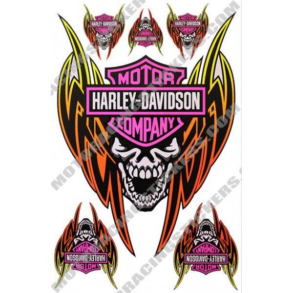 HarleyDavidson Car Decals  ORANGE PINK HARLEY DAVIDSON - Stickers for motorcycles harley davidsons