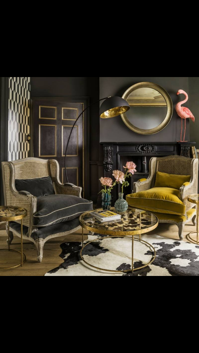 Black Gold And Mustard Interiors Yellow Home Decor Home Decor Living Room Inspiration