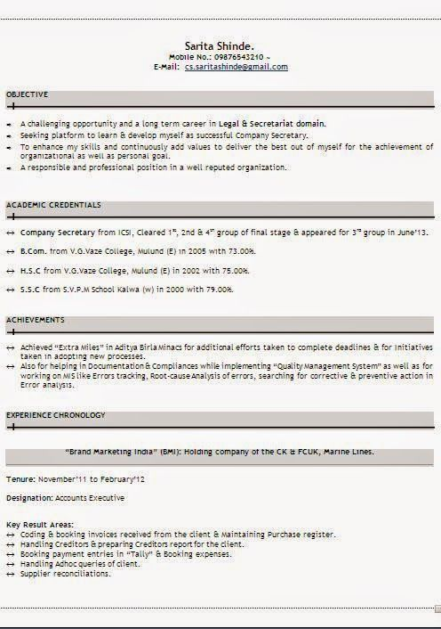 Download Cv Format Sample Template Example Ofexcellent Curriculum