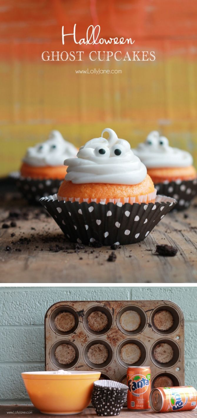 Orange Fanta GHOST Cupcakes, sprinkled with crushed OREO: Perfect for Halloween!