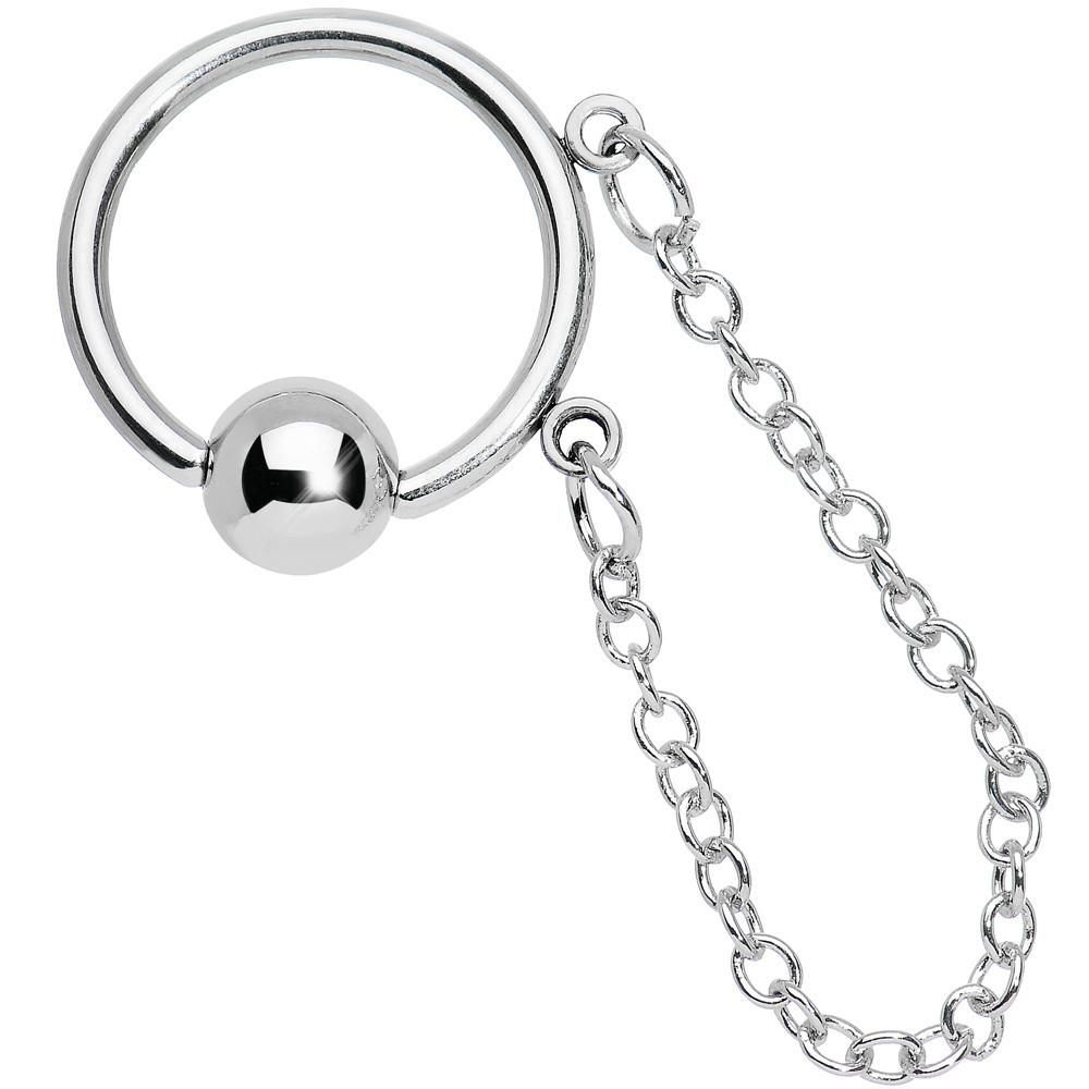 Stainless Steel 14 Gauge 13mm Bcr With Chain Dangle Conch Jewelry