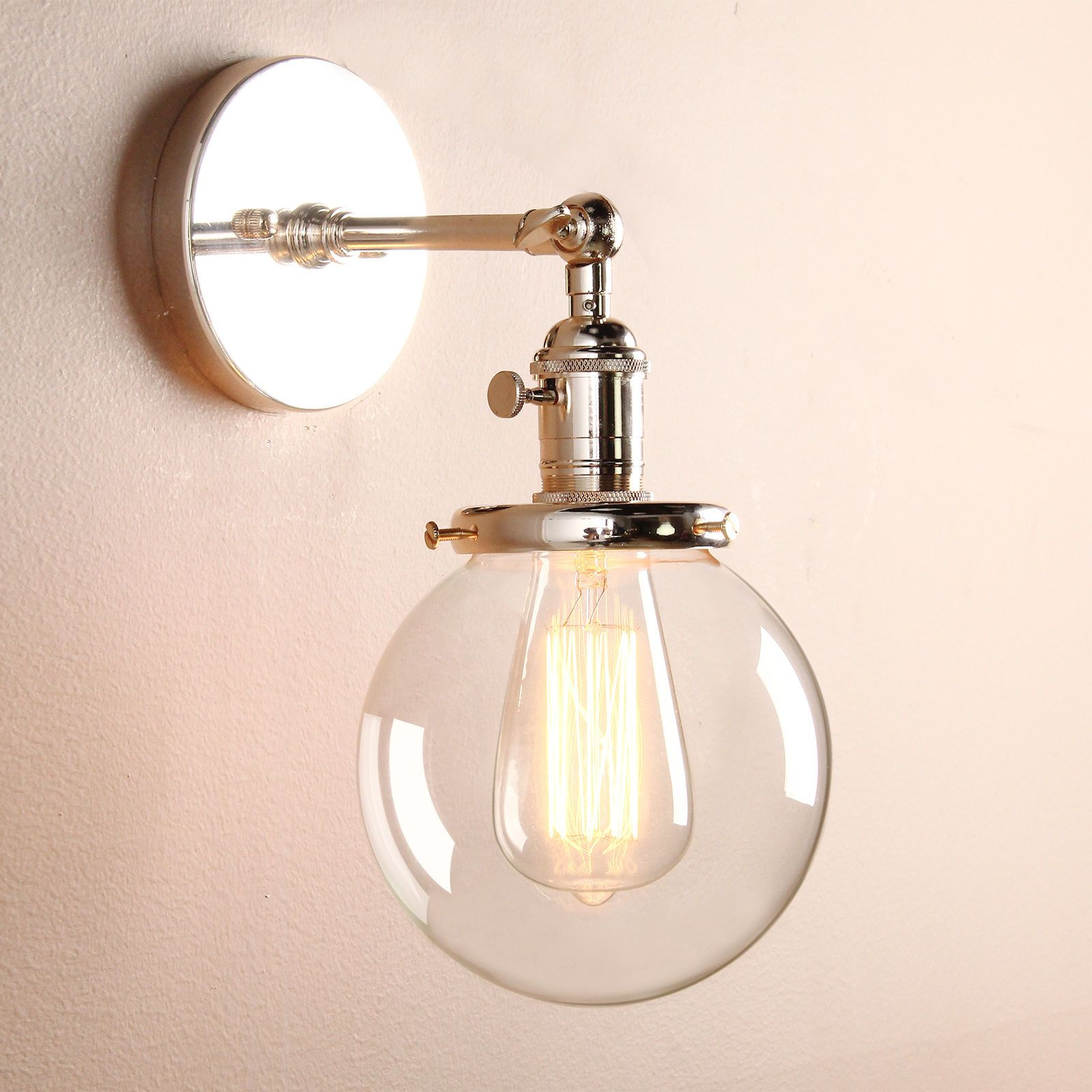 Small Vintage Brushed Sconce Lamp Globe Gl Shade Loft Wall Light In Home Furniture Diy Lighting Lights Ebay
