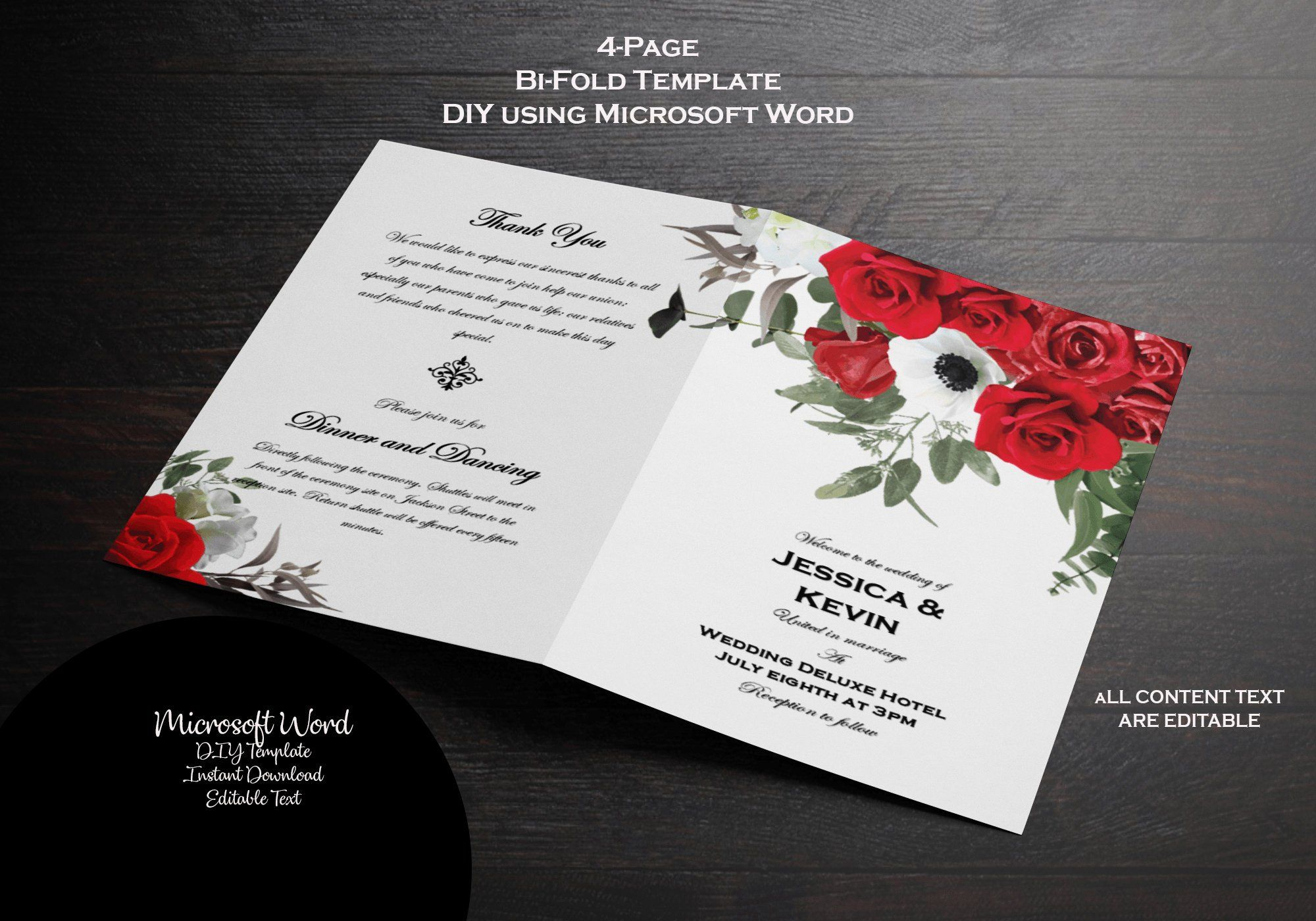 printable wedding program red roses sage ash printable wedding