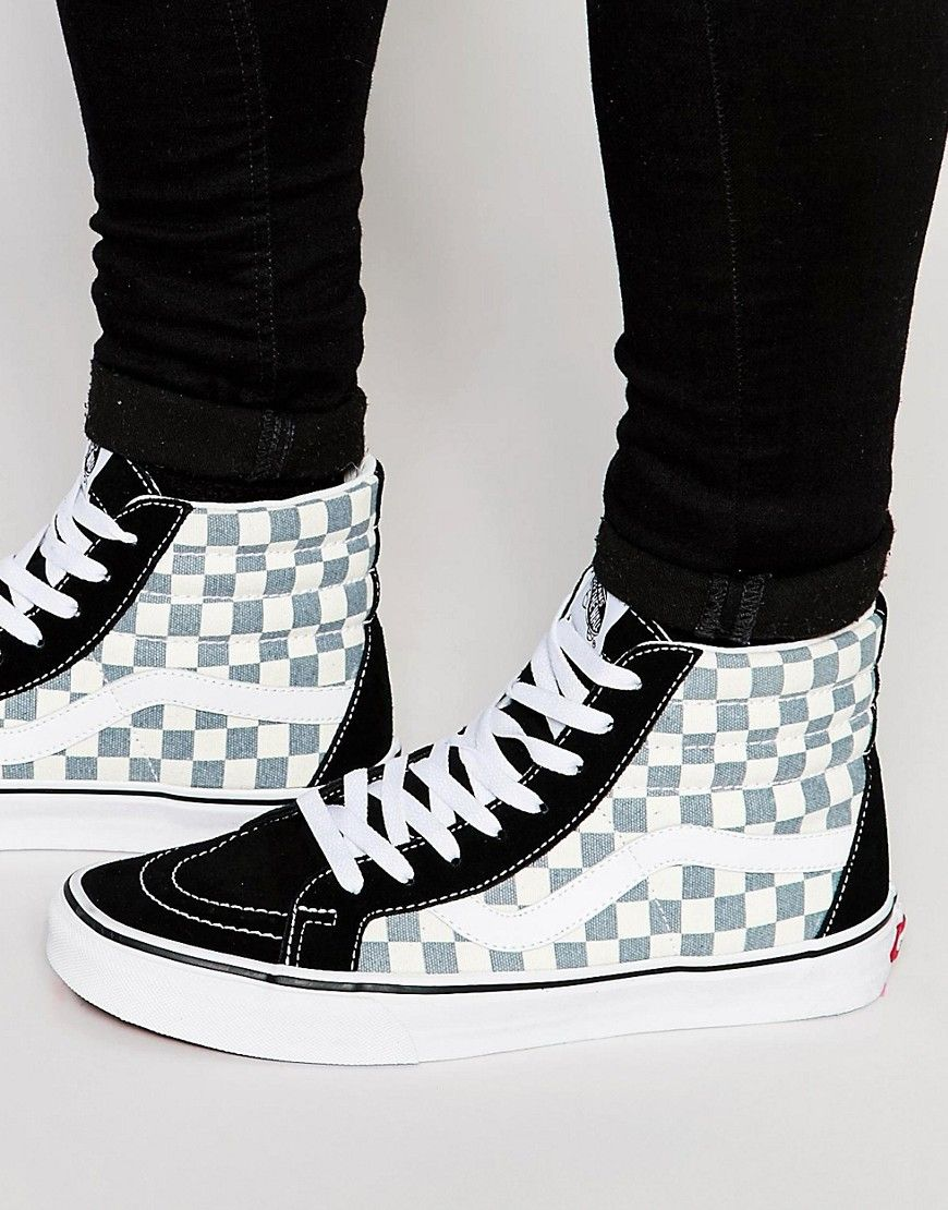 checkerboard black and white vans asos