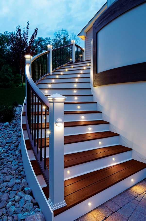 Energy efficient led stair lights by trex deck lighting looks good and serves a great