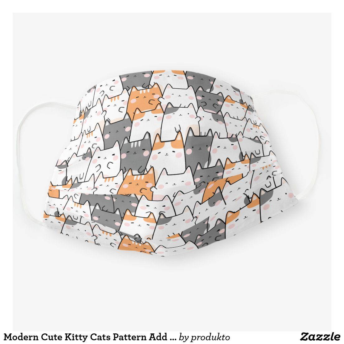 Modern Cute Kitty Cats Pattern Add Your Name Cloth Face Mask In 2020 Cat Pattern Cute Cats Kitty