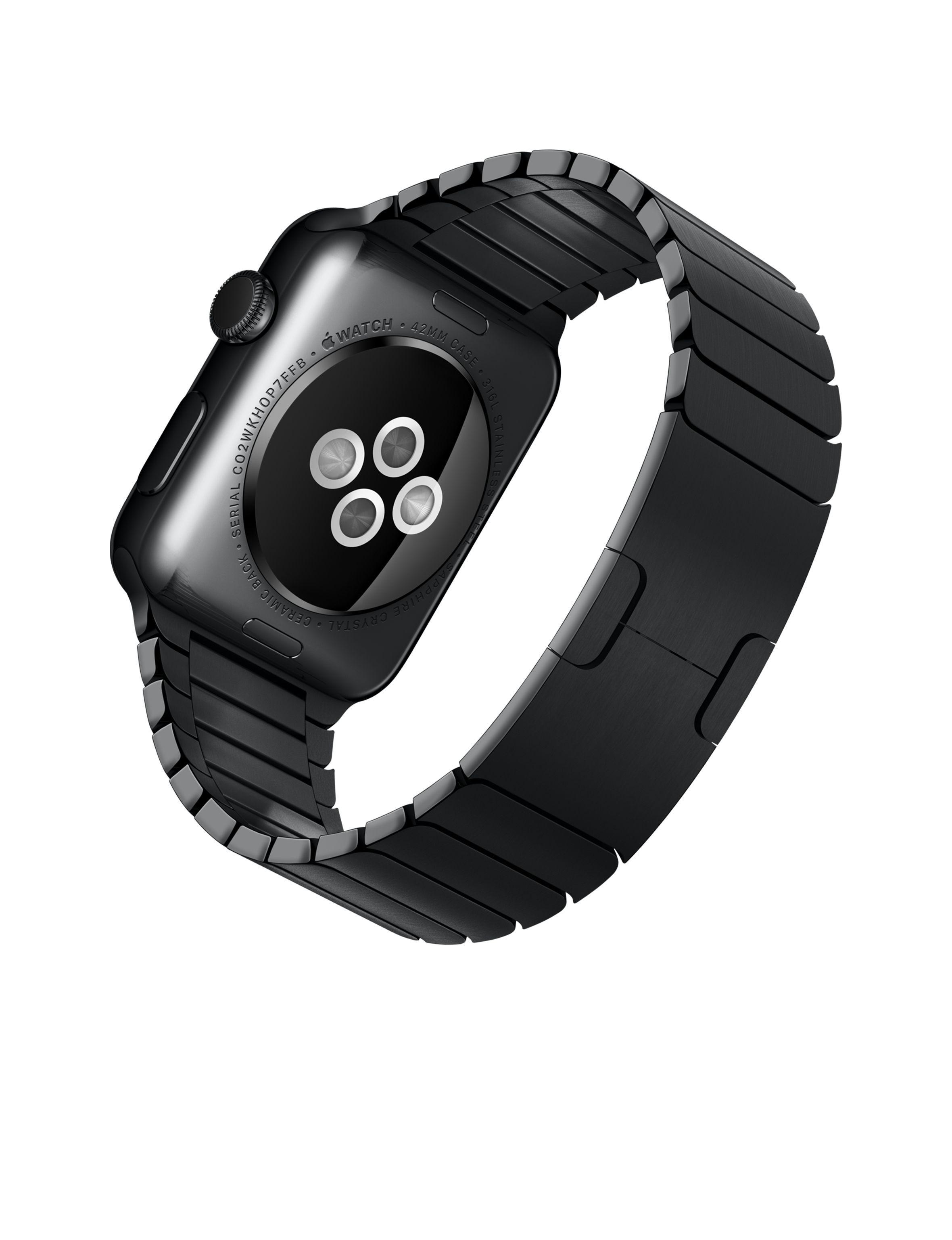 79e2d507d85 Apple Watch – Caixa 42mm de aço inoxidável com pulseira preta de elos