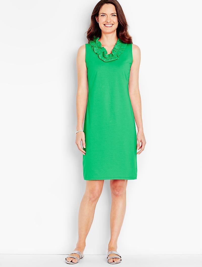 Ruffled V Neck Shift Dress Talbots Shift Dress Casual Clothes Dresses [ 1057 x 800 Pixel ]
