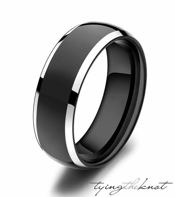 Black Tungsten Ring Fully Stacked With Brilliant Diamond Mens Wedding Band Comfort Fit Mens Diamond Wedding Bands Black Tungsten Rings Mens Wedding Bands Black
