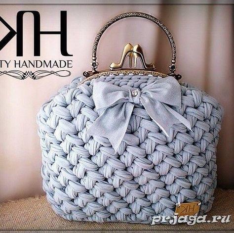 сумочки крючком из ленточной пряжи своими руками вязаные сумки