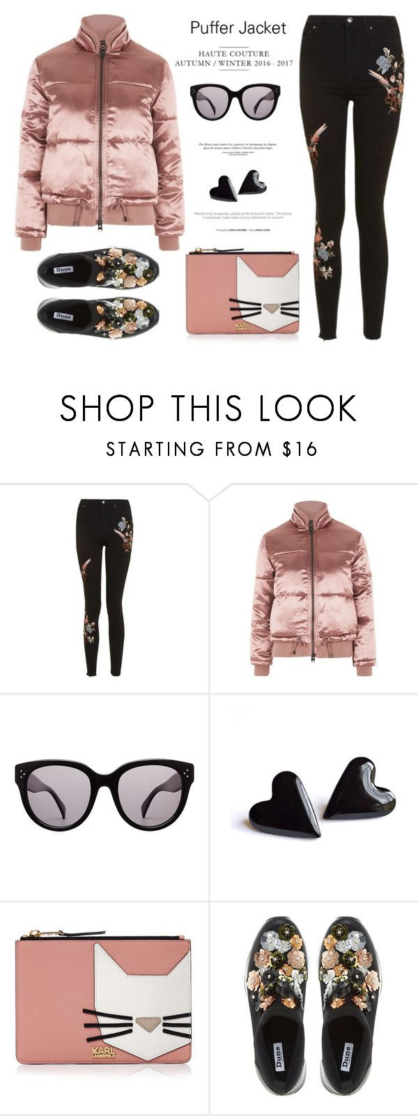 """""""Puffer Jacket"""" by rasa-j ❤ liked on Polyvore featuring Topshop, CÉLINE, Karl Lagerfeld, Dune, womensFashion and puffers"""