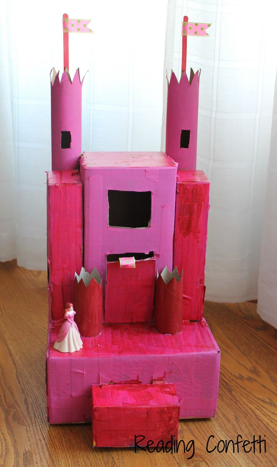 cardboard castle craft- made from stuff around the house. shoebox