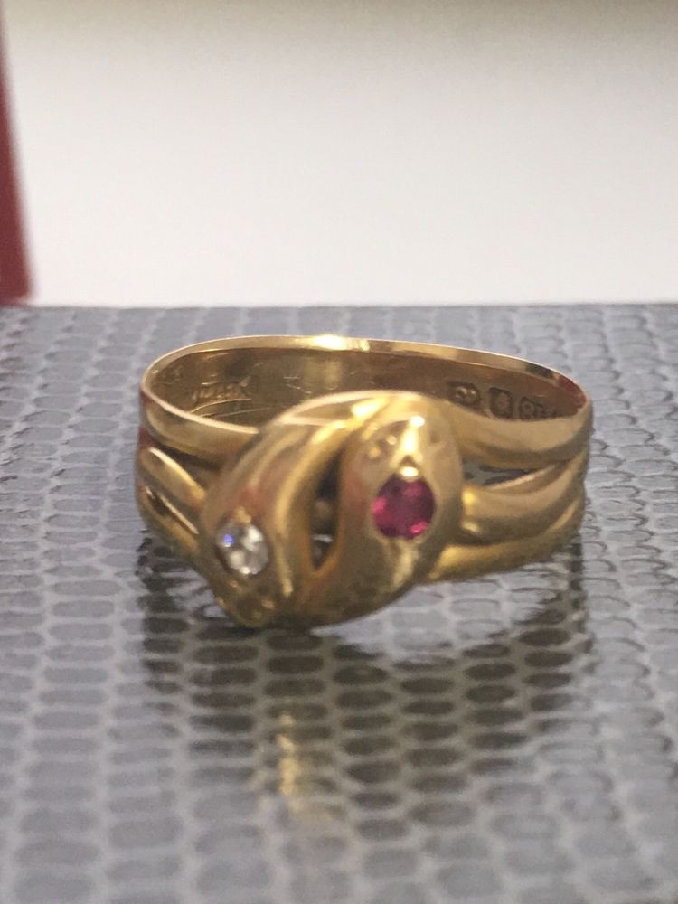 Beautiful 18ct gold fully hall marked antique Victorian ruby and diamond double snake ring. It weighs 3.4g and is a size M.   eBay!