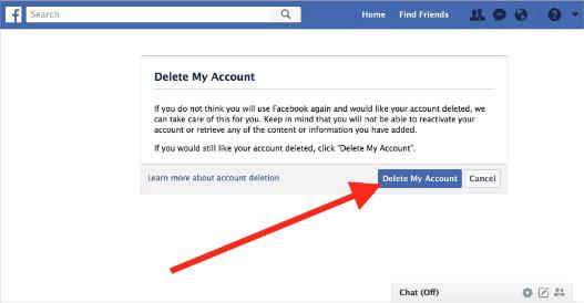 Facebook Delete How To Delete Facebook Account Delete Facebook Job Security Online Networking