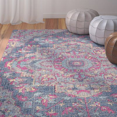 Bungalow Rose Randhir Navy Grey Pink Area Rug Rug Size Rectangle 5 3 X 7 6 In 2020 Pink Rug Black Grey Rugs Area Rugs