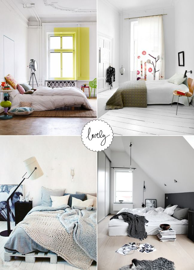 Bedroom Ideas No Bed no bed frame, low bed this is what i want!!!! love the one on the