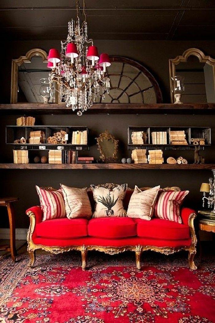 rotes sofa 80 fantastische modelle wohnzimmer ideen inspiration pinterest. Black Bedroom Furniture Sets. Home Design Ideas