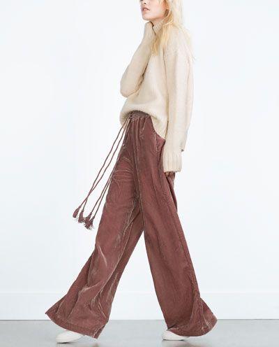 ZARA - WOMAN - FLOWING VELVET TROUSERS Pantalones De Terciopelo 5ebb11a866b4