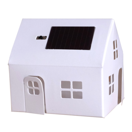 This little house is a solar energy night light. Kids